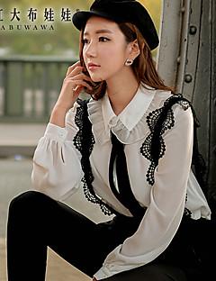 Mulheres Camisa Casual Primavera,Color Block Branco Poliéster Gola Frufru Manga Curta Média