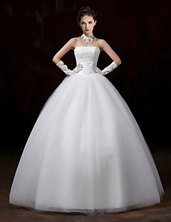 Ball Gown Wedding Dress - White Floor-length Strapless Lace / Tulle
