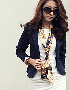Women's Fall Blazer,Solid Notch Lapel Long Sleeve Pink / White / Beige / Black Polyester Medium