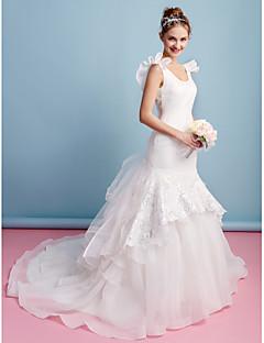 Lan Ting Fit & Flare Wedding Dress - Ivory Chapel Train Scoop Organza