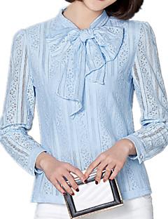 Mulheres Blusa Laço Manga Longa Renda / Vazado Poliéster / Elastano / Outros Mulheres