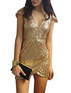 kvinnors plus size v-ringad kortärmad sexiga mini klänningar