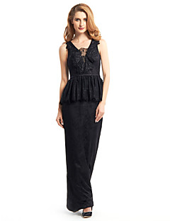 Lanting Sheath/Column Mother of the Bride Dress - Black Ankle-length Sleeveless Lace