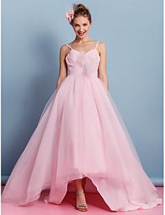 Lan Ting A-line Wedding Dress - Blushing Pink Asymmetrical Spaghetti Straps Tulle
