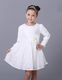 A-line Knee-length Flower Girl Dress - Lace / Satin Long Sleeve Jewel with