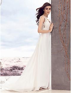 A 라인에게 웨딩 드레스를 lanting - 아이보리 청소 / 브러쉬 기차 V 넥 쉬폰