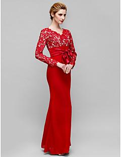 Lanting Trumpet/Mermaid Mother of the Bride Dress - Burgundy Floor-length Long Sleeve Lace