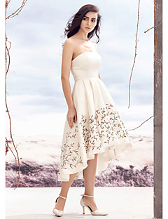 Lanting A-line Wedding Dress - Ivory Asymmetrical Strapless Satin