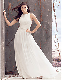 LAN TING BRIDE A-line Wedding Dress Beautiful Back Sweep / Brush Train Jewel Chiffon with Criss-Cross Draped