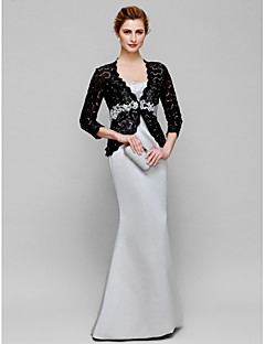 Lanting Trumpet/Mermaid Mother of the Bride Dress - Multi-color Floor-length 3/4 Length Sleeve Lace / Satin