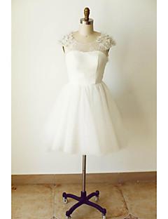 A-라인 웨딩 드레스 무릎 길이 스쿱 튤 와 비즈 / 꽃장식 / 레이스