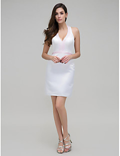 TS Couture Cocktail Party Dress - Ivory Sheath/Column Halter Short/Mini Stretch Satin