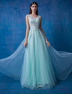 저녁 정장파티 드레스 - 세이지 / 오션 블루 볼 드레스 바닥 길이 스쿱 레이스 / 명주그물 / 반짝이