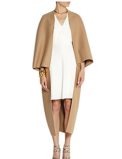 3/4 ærmelængde Medium Kvinders Sort / Brun Ensfarvet Forår Trenchcoat,Polyester