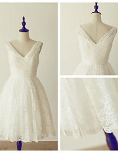 A-line Wedding Dress - Ivory Knee-length V-neck Lace