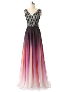 포멀 이브닝 드레스 A-라인 V-넥 바닥 길이 쉬폰 와 레이스 / 패턴 / 프린트 / 스팽글