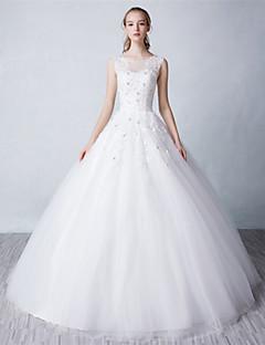 Ballkleid Hochzeitskleid Boden-Länge Schmuck Tüll mit Spitze / Perlstickerei