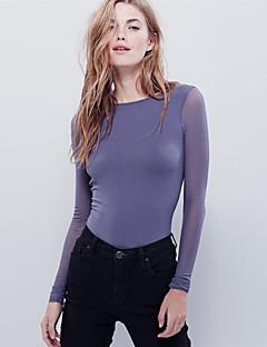 Damen Bluse - Rückenfrei Polyester Langarm Rundhalsausschnitt