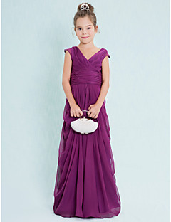 Lanting Bride® Floor-length Chiffon Junior Bridesmaid Dress Sheath / Column V-neck with Draping / Criss Cross / Ruching