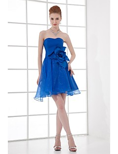 Lanting Bride® Short / Mini Organza Bridesmaid Dress A-line Strapless with Flower(s)