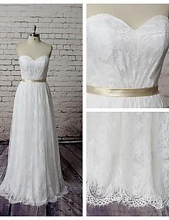 시스 / 칼럼 웨딩 드레스 바닥 길이 스윗하트 레이스 와 레이스