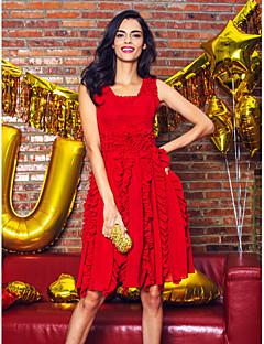 TS couture® 칵테일 파티 / 가족 모임이있는 줄 특종 무릎 길이 쉬폰 드레스
