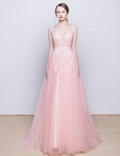 칵테일 파티 / 저녁 정장파티 드레스 - 블러슁 핑크 A-라인 스윕/브러쉬 트레인 V-넥 명주그물
