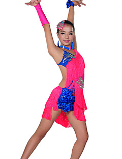 Latin Dance Outfits Children's Performance Spandex Tassel(s) 6 Pieces 8 Colors