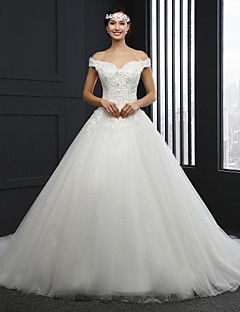 A-line Wedding Dress Chapel Train Strapless Tulle with Beading