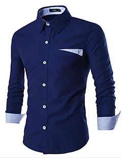 Ruitjes-Informeel-Heren-Katoen-Overhemd-Lange mouw-Blauw / Wit