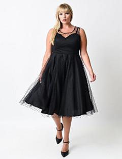 Mulheres Vestido Swing Casual Poá Altura dos Joelhos Decote Redondo Poliéster