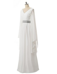 Formal Evening Dress - White A-line V-neck Floor-length Chiffon