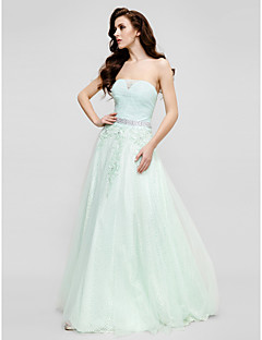 TS Couture® Formal Evening Dress Plus Size / Petite A-line / Princess Strapless Floor-length Lace / Tulle with Appliques / Beading / Lace