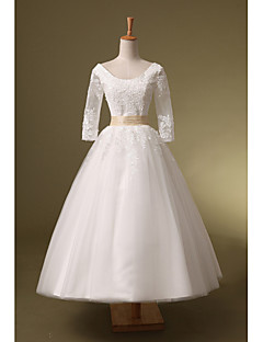 Ball Gown Wedding Dress - White Tea-length Scoop Organza