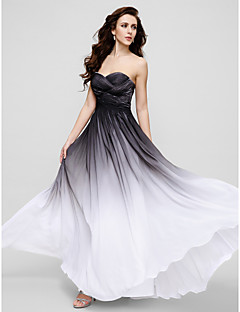 Formal Evening Dress - Multi-color Plus Sizes / Petite Sheath/Column Spaghetti Straps Floor-length Chiffon