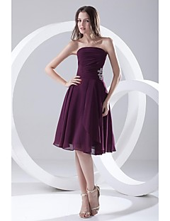 Lanting Knee-length Chiffon Bridesmaid Dress - Grape A-line Strapless