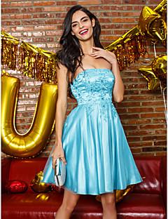 Cocktail Party Kleid - Blau Tülle - A-Linie - knielang - trägerloser Ausschnitt