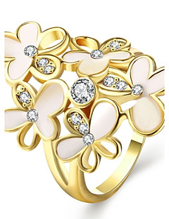 Ring Birthstones Wedding / Party / Daily / Casual Jewelry Zircon / Gold Plated / Opal Women Statement Rings 1pc,7 / 8 Gold / White