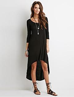 כותנה א-סימטרי צווארון עגול אחיד שמלה גזרת A פשוטה / סגנון רחוב נשים