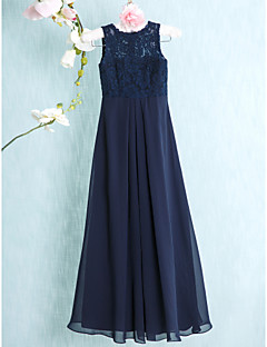 Floor-length Chiffon / Lace Junior Bridesmaid Dress Sheath / Column Scoop with Lace