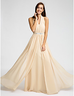 Floor-length Chiffon Bridesmaid Dress Sheath / Column Halter with Beading / Crystal Detailing / Sash / Ribbon