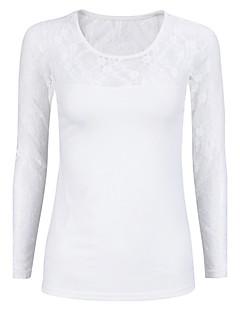 Langærmet Rund hals Medium Kvinders Hvid / Sort Ensfarvet Sexet / Street I-byen-tøj Bluse,Bomuld