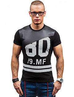 Men's Print / Color Block Casual T-Shirt,Polyester Short Sleeve-Multi-color