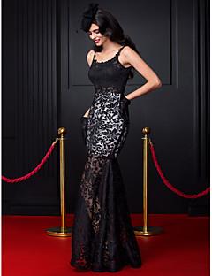 ts couture® avondjurk fit& flare spaghettibandjes vloer-length kant met kant
