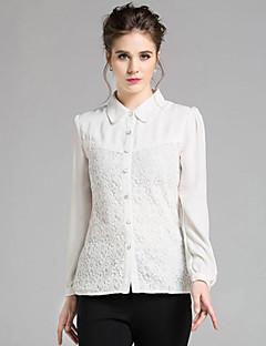 Vrouwen Street chic Lente Overhemd,Casual/Dagelijks Effen Overhemdkraag Lange mouw Wit Polyester Medium