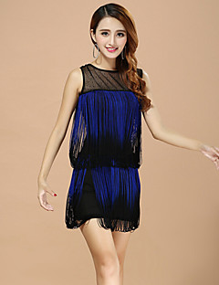 Performance Dresses Women's Performance Polyester Tassel(s) 1 Piece Blue / Red / White / Almond Latin Dance Sleeveless Dress