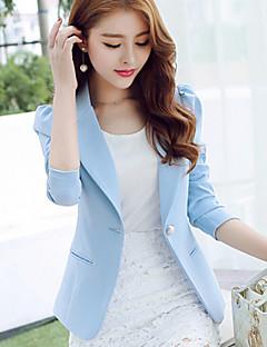 Damen Solide Einfach Blazer,Hemdkragen Frühling Langarm Blau / Rosa / Schwarz Polyester Mittel