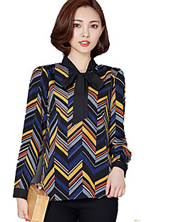 Women's Color Block Black Blouse , Stand Long Sleeve