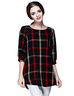 Women Ladies Blouse Plaid Print O Neck 3/4 Sleeve Plus Size Casual Loose Vintage Shirt Tops