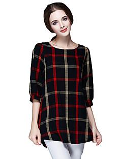 Nais- ½ hiha Keskipaksu Pyöreä kaula-aukko Polyesteri Vintage / Yksinkertainen Rento/arki T-paita,Color Block Punainen